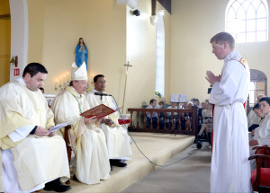 REPRO FREE  19/07/2015;       Bishop Alphonsus Cullinan DD, Bishop of Waterford & Lismore, with Rev. Kevin Malcolmson, Clogher, and Rev. Lazarus Gidolf, Waterford and Lismore, calls Shane O'Neill, Knockanore, to be ordained a priest in the Church of The Sacred Heart, Knockanore, Co. Waterford. Picture: John Hennessy