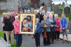 The Icon of the Holy Family and Bell arrive safely at Abbeyside Church for a Celebration to mark the beginning of the World Meeting of Families and for prayers for the families of the Parish and the success of the world event to be held next August in Dublin. (Tom Keith)